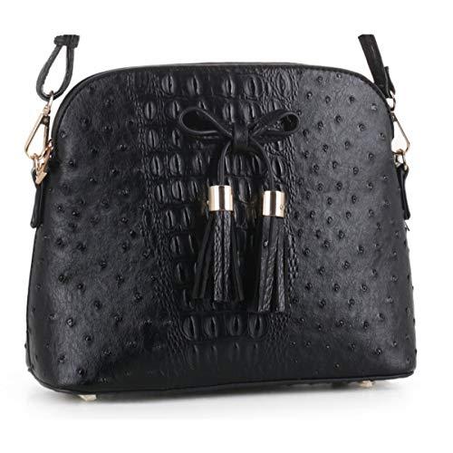 SG SUGU Ostrich Pattern Lightweight Medium Dome Crossbody Bag with Bow Tassel | Black