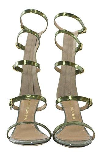 Made Unita Donna Tacco Estive Tinta A Schiava Specchiato Modello Con In Alla Scarpe Sandalo Pelle Spillo Effetto Verde Da It B7qZE7U