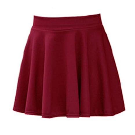 HEHEAB Falda,Vino Rojo Mujeres Cute Kawaii Solid Mini Faldas Moda ...