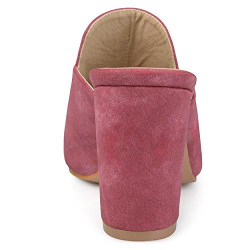 Brinley Co Womens Thirza Block Heel Distressed Loafer Mules Brick PjKnIPIERd