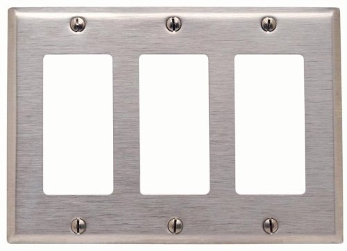 Stainless Steel Device Mount Leviton 84411-40 3-Gang Decora//GFCI Device Decora Wallplate
