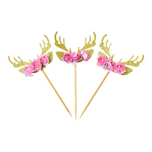 JETEHO Pack of 10 Floral Deer Antler Flowers Cupcake Toppers Cake Picks Party Favors Decoration