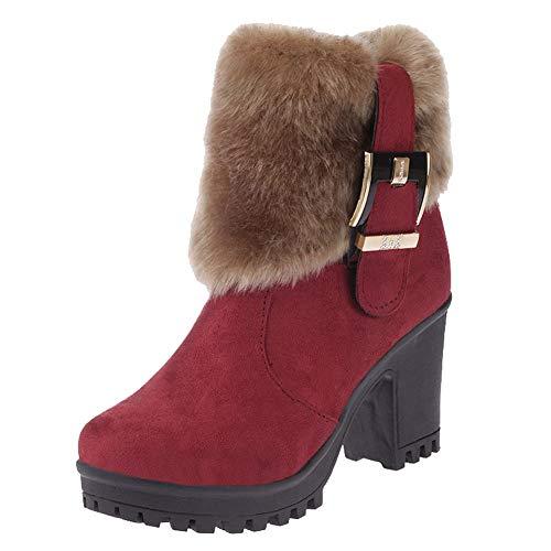Botas,Botines cuña para Mujer Otoño Invierno 2018 Moda ZARLLE Mujeres de Felpa Boots Tubo Corto de Espesor con Hebilla de Arranque en Caliente Casual ...