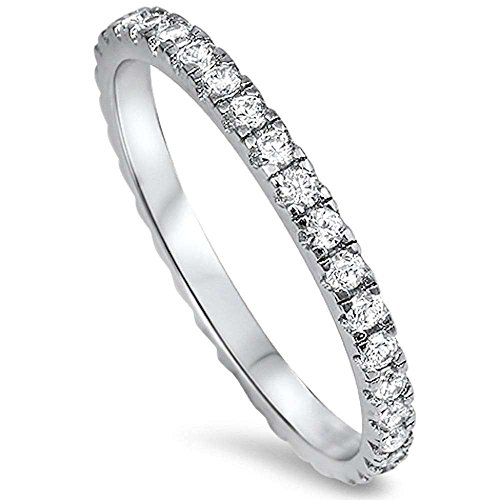 Oxford Diamond Co Round Cubic Zirconia Eternity Style Band .925 Sterling Silver Ring Size 5