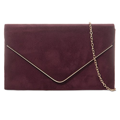 HAND SUEDE PROM PURSE BAG BRIDAL Burgundy WEDDING fi9 CLUTCH PLAIN EVENING PARTY zUqp5WSFwa