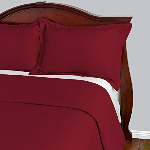 Cosy House Collection Duvet Cover 3 Piece Set - 1500 Series Ultra Soft Double Brushed Microfiber Hotel Bedding - Hypoallergenic - Comforter Cover and 2 Pillow Shams (Full/Queen,Burgundy) (Rh Duvet Cover)
