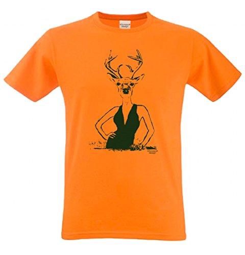 T-Shirt mit Motiv - Wiesn Hirsch Lady - Lustiges Outfit auch als Geschenk passend zum Oktoberfest in Orange 3