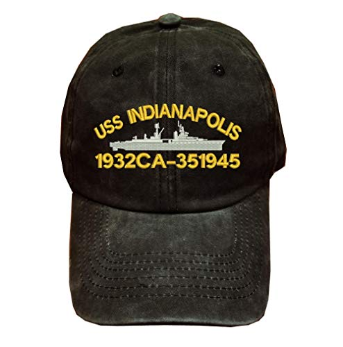 USS Indianapolis 1932 CA-35 1945 Ship Military 100% Wash Cotton Hat Black
