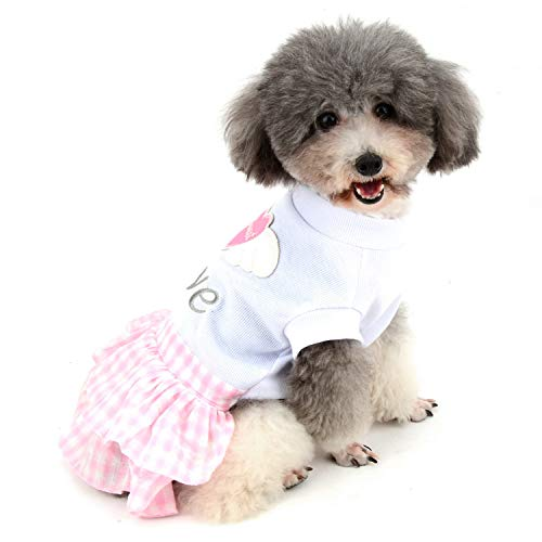 Zunea Plaid Dog Dress Summer Puppy Skirt Sweet Love Heart Angel Wings Pet Tutu Dresses Cotton Cat Clothes Apparel for Small Dogs Girl Pink XS