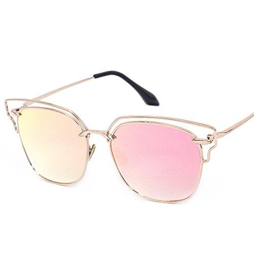 de rosa Lentes de gafas Gafas sol de con de conducción gris borde Grande de de color espejos Bastidor portátil lentes colores Gafas sol color Playa gafas Señoras oro Moda oro DESESHENME de con borde wCFSpqw