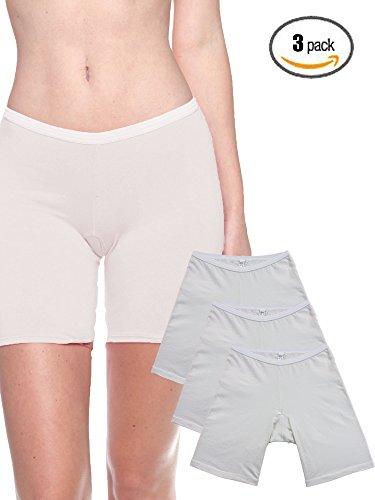 B2BODY 3 Pack Women's Plus Size Organic Cotton Long Leg 6.5
