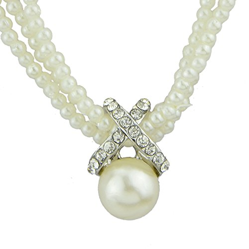 te Faux Pearl 3-Strand Choker Collar Bib Necklace for Women with Jewelry Pouch ()