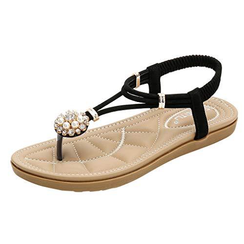 Duseedik Women's Sandals Crystal Pearl Fashion Rome Floral Flip Flops Summer Low Heels Sandals Shoes Black