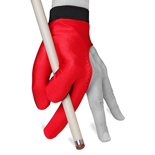 Billiard Pool Cue GLOVE by Fortuna - Classic Two-colored - For left hand - Red/Black (Medium/Large)