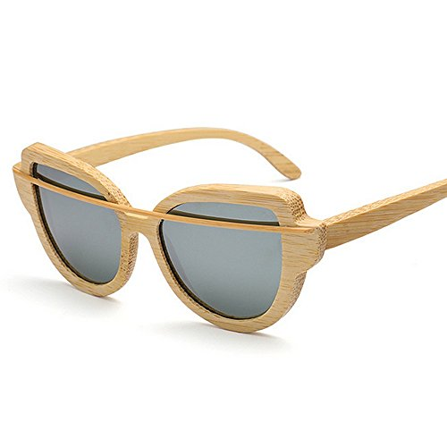 gafas de protección polarizadas gafas de gato hombres de gafas de mujeres de Lente de UV colorida sol Ojos sol Marco las madera Unisex simple Retro Gafa Gris para de conducción gafas de bambú sol sol de de fAxqxYz