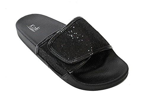 Kali Women's Sparkle Glitter Slip On Sandals Space Black, 8