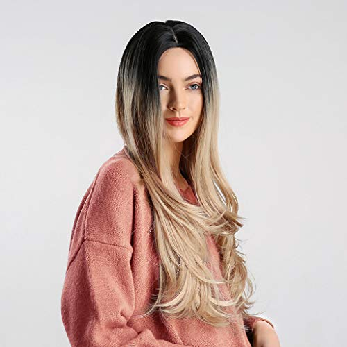 (Long Mix Color Gradient Wigs for Women Wavy Middle Synthetic Part Synthetic Cosplay Hair (Rose)