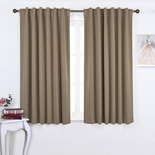 Nicetown Blackout Room Darkening Curtains Window Panel Drapes - Taupe / Khaki Color 2 Panels Set, 52 Width X 63 Length each panel, 7 Back Loops per Panel, Back Tab / Rod Pocket
