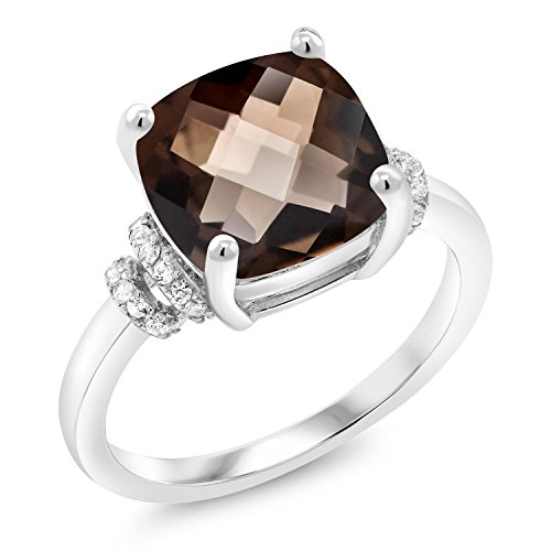Gem Stone King 3.36 Ct Cushion Checkerboard Brown Smoky Quartz 925 Sterling Silver Ring