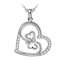 ZHULERY Necklaces for Women, Heart Shape with 925 Sterling Silver and 5A Cubic Zircon Glamour Butterfly, 18+ 2 Extender, Exquisite Package.