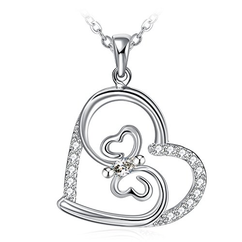 Necklace, ZHULERY Necklace For Women With 925 Sterling Silver And 3A Cubic Zirconia,18''+2'' Extender Chain, Graduation (Silver Butterfly Heart)