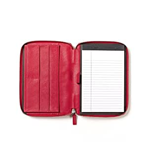 Leatherology Junior Zippered Portfolio with Pen Loop - Full Grain Leather Leather - Red Apple (red)