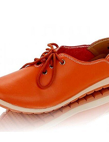Coral Zapatos Oxfords Cuero Eu39 Exterior 5 Naranja Eu36 De 5 Blue Uk4 us8 Amarillo Comfort Zq Azul Uk6 Tacón Cn40 Plano Mujer Hug Cn36 us6 Orange Casual 60xAwqv5