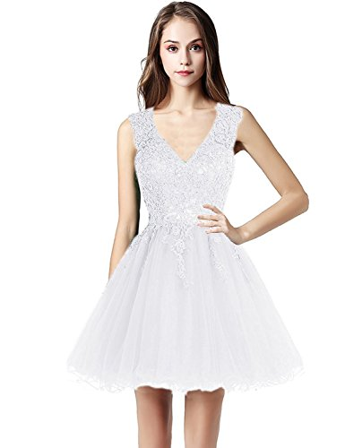 Cocktail Sarahbridal Lace Womens Dresses LX418 white Applique Homecoming Beaded 80602 Gowns Short 00qw6Rnr