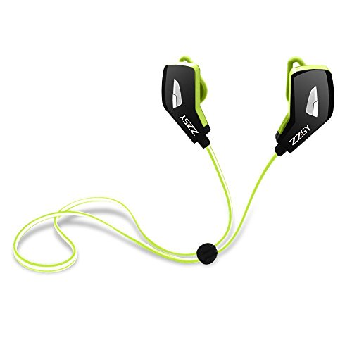 Green Headphone Earphone (Bluetooth Headphones, ZZSY Wireless Bluetooth Earphone, Stereo In-Ear Noise Cancelling Sweat-proof Sports Headset with Microphone (Green))