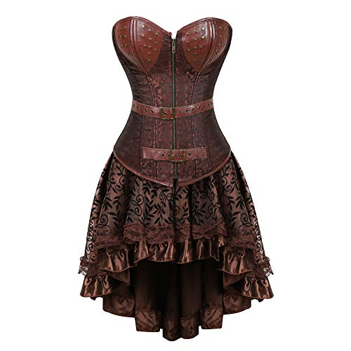 (Grebrafan Punk Brocade Leather Tight Shaper Corset with Fluffy Pleated Layered Tutu Skirt (US(20-22) 6XL, Brown))