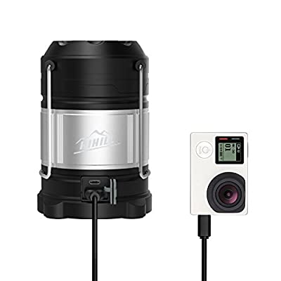 Portable LED Camping Lantern Flashlights with Rechargeable 18650 Llithium Batteries, HiHiLL Emergency Light for Vehicles, Hurricane, Home Power Outage, Excellent Backup Battery for Mobile Phone