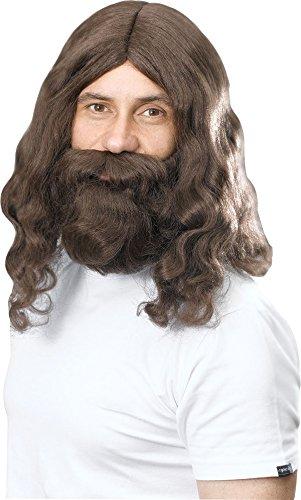 Fancy Dress Hippy (Jesus Hippie Religious Fancy Dress Party Hippy Wig & Beard Set Adult Accessory)