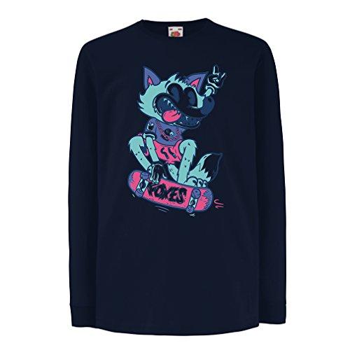 - Kids Boys/Girls T-Shirt Skater Fox -Streetwear, Urban Clothing, Skateboarding Clothes, Skate Gear (12-13 Years Blue Multi Color)
