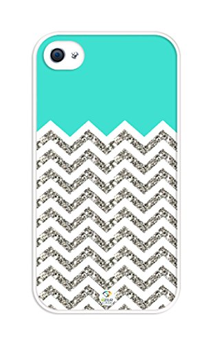 iZERCASE Chevron Pattern Turquoise Grey White Mixed RUBBER iphone 4, iphone 4S case (NOT ACTUAL GLITTER) - Fits iphone 4/4S T-Mobile, AT&T, Sprint, Verizon and International (Turquoise Chevron Iphone 4 Case)