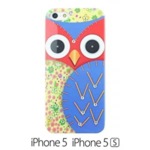 OnlineBestDigital - Owl Painting Hard Back Case with Diamond Rhinestone for Apple iPhone 5S / Apple iPhone 5 - Blue