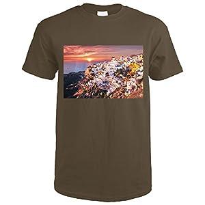 Santorini, Greece - Coastal Homes at Sunset (Dark Chocolate T-Shirt X-Large)