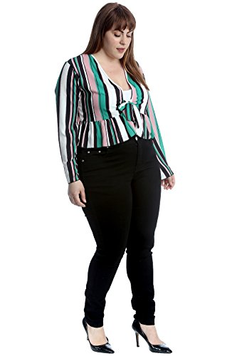 Nouvelle Collection Stripes Print Frill Shrug Teal 26-28 by Nouvelle Collection (Image #1)
