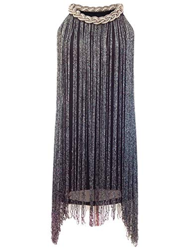 Vijiv Women's 1920's Gatsby Long Swinging Fringe Tassel Flapper Cocktail Dress, Black, X-Small / Small]()