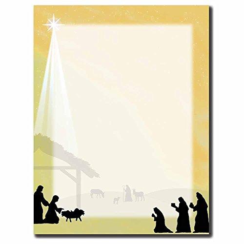 Christmas Letterhead Paper - Away In The Manger Letterhead Laser & Inkjet Printer Paper (100pk)