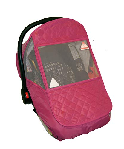 Universal Infant Car Seat Cover/Weather Shield, Quilted Waterproofed Fabric, UV-Protection, Large Zipped Window (Pink)
