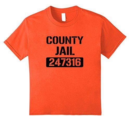 [Kids County Jail Costume Shirt in Orange for Halloween 12 Orange] (Jail Costume For Kids)