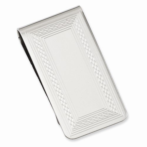 Rhodium Patterned 25 mm Clip Border Money Rhodium plated plated Length ZqW5P