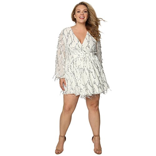 Astra Signature Women\'s Plus Size Deep V-Neck Sequin Beaded Fringed ...