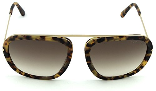 Tom Ford FT 0453 Johnson Unisex Metal Geometric Sunglasses (Blonde Havana Frame, Gradient Brown Lens 53F) by Tom Ford (Image #1)