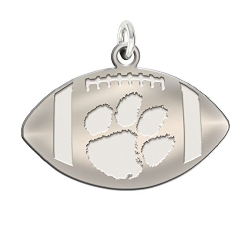 Clemson Tigers Charms | Sterling Silver Natural Finish Football Cut Out Charm (Silver Charm Sterling Clemson Tigers)