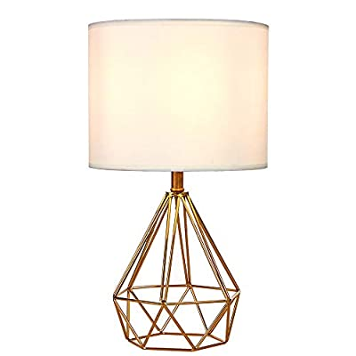 "SOTTAE Modern Style Golden Hollowed Out Base Beside Living Room Bedroom Table Lamp, Desk Lamp with White Fabric Shade - Size: Diameter: 9.06"", Hight: 15.75"". Item weight:2.35pounds.Please note the small size before purchasing. Well-designed: Modern design from Europe, Cage Geometric metal lamp base,High quality, Electroplated bronze hollow base with white lampshade, Unique taste. Long Service Life: High quality TC fabric with built-in insulation to reduce light damage to the eye, prolong the service life - lamps, bedroom-decor, bedroom - 411bH75U5aL. SS400  -"
