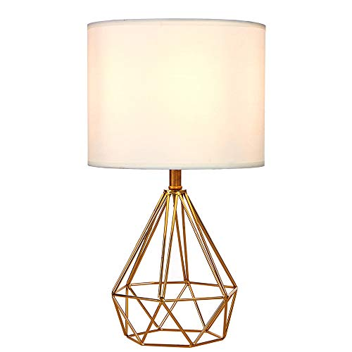 SOTTAE Modern Style Golden Hollowed Out Base Living Room Bedroom Beside Table Lamp, Desk Lamp with White Fabric Shade (Modern Base Lamp)