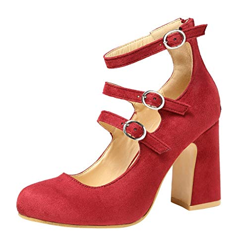 Cenglings Women's Vintage Square Toe Ankle Strap Mary Jane Shoes Buckle Strap Shoes High Chunky Heels Pumps Sexy Party Shoes Red (Square Covered Buckle)
