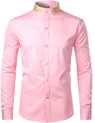 (ZEROYAA Mens Hipster Gold Embroidery Mandarin Collar Slim Fit Long Sleeve Casual Dress Shirts Z52 Pink Small)