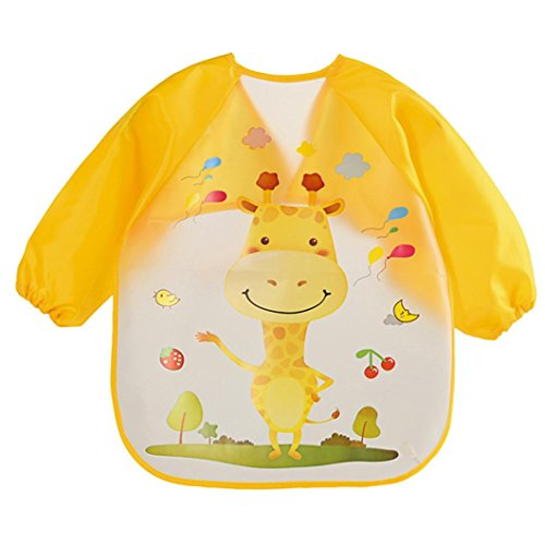 Baby Boys Girls Bibs, Iuhan Baby Bibs Burp Cloths Waterproof Cartoon Kids Drawing Smock Feeding Accessories (D) ()